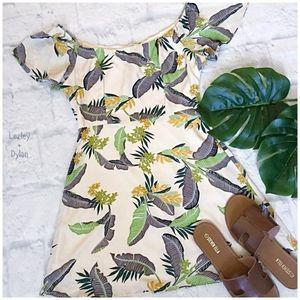 EMORY PARK Tropical Chic Beige Short Dress